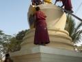 Painting the Stupa at Tashi Lhunpo.