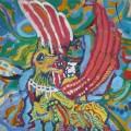 Arcivescovo volante-Flying beshop.Olio su tela,80x150,1968.