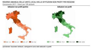 non profit sport Istat mappa