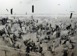 Trio - centre part, Garden of Men, acrylic on canvas, 190 x 260, 2015
