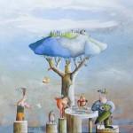 Il gioco dell'oca, acrilico e olio su tela, 130x150