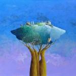 L'albero amico, acrilico e olio su tela, 110x130