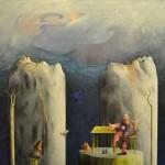 La pescatrice di rane, acrilico e olio su tela, 130x150