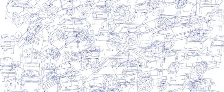 Automobili, inchiostro a penna su carta, 2016, 50X70, Daniele Bertanzetti