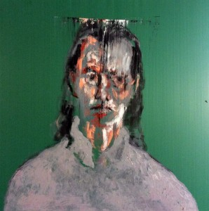 Self portrait with long hair, Oil On Polypropylene, 50 x 50 cm.