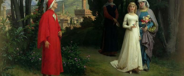 """""""Dante e Beatrice nel giardino di Boboli"""" Raffaele Giannetti (1877), olio su tela, Newport Museum and Art Gallery. Dal libro 'Con Dante' di Emerico Giachery (Appula aeditua 2016)"""