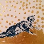 Danae,  2017. Oro zecchino e tempera acrilica.