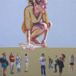 On a tightrope, acrilic on canvas, 50 x 50 cm. 2014