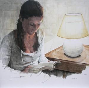 opera Maria Bidini, Luce per la mente, 2015, pastelli e acquerello su tela e gesso, 80x80 cm