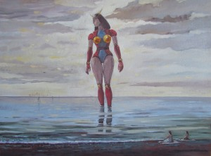 Fabrizio Spadini - La grande bagnante, 2017, 45x60, olio su tavola