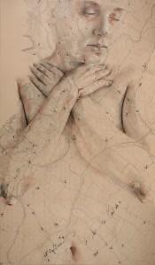 opera 3 Laura Serafini - (INTRO 02) - 2017 - 60x100 - china, carboncino, acquerello, sanguigna, pastelli, olio e corallo su vecchia mappa applicata su forex