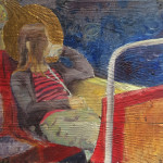 MetroII, 26,4x30,6 cm, oil and golden leaf on wood, 2015. Private collection