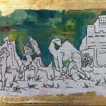 Musica, 11x16cm, Acrilico olio e foglia d'oro su cartone, 2016. Collezione Privata