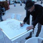Performance di Disegno dal vivo in Largo do Intendente, Lisbona, 2016.