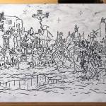 Virtus Fado, 120x80 cm, Ink on Plastic Surface, 2016