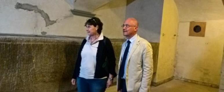 Assessore Saccardi e presidente Fondazione Giancarlo Landini alle vasche di Leonardo